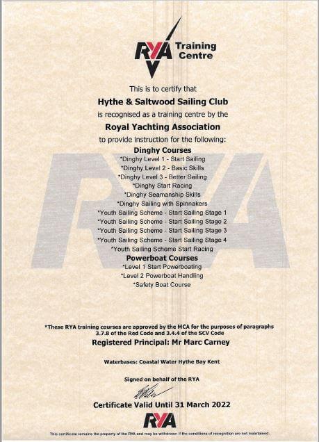 HSSC | RYA Certificate 2021